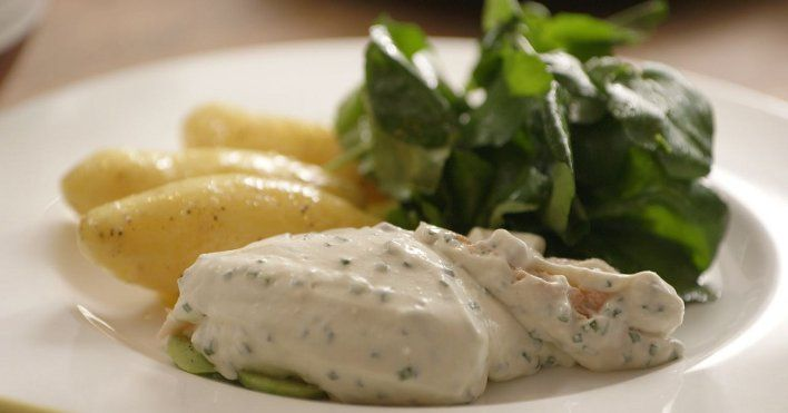 Poached Salmon with cucumber, chives & cream by Simon Hopkinson