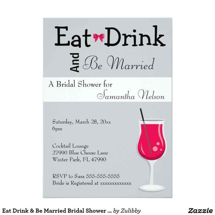 Eat Drink U0026 Be Married Bridal Shower Invitation