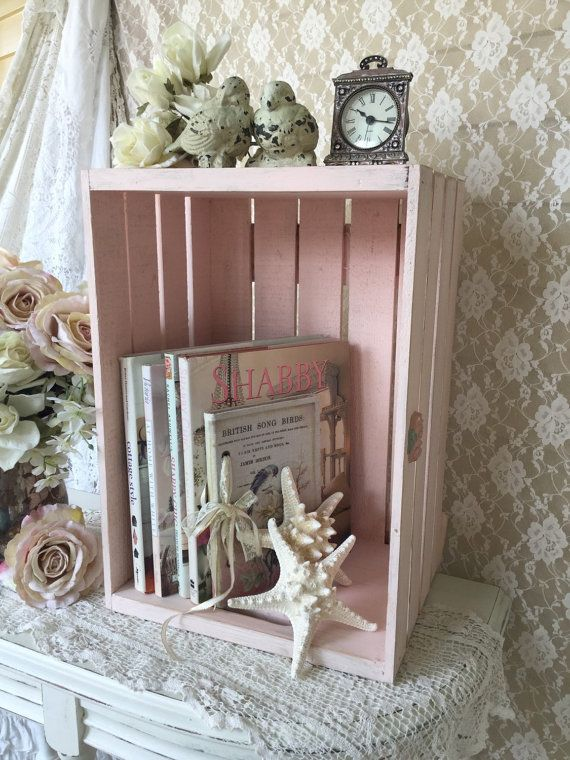 This beautiful one of a kind repurposed wooden crate is made from a vintage fruit shipping crate.  Painted a lovely shade of pale pink chalk paint
