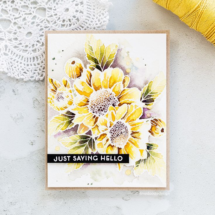Just saying hello - watercoloured Altenew Spring Daisy card by Debby Hughes.