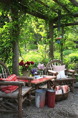 : Outdoor Living, Twig Furniture, Seats Area, Patio, Gardens, Backyard, Outdoor Spaces, Back Yard, Sit Area