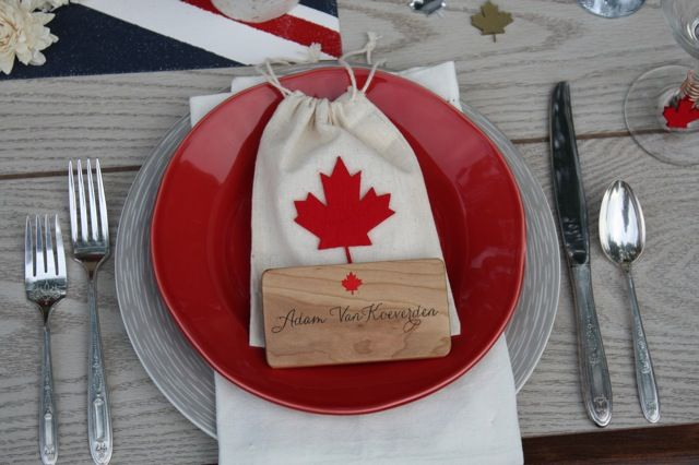 Cherry wood placecard for Canadian Olympic themed tablescape (Kayaker Adam Van Koeverden)