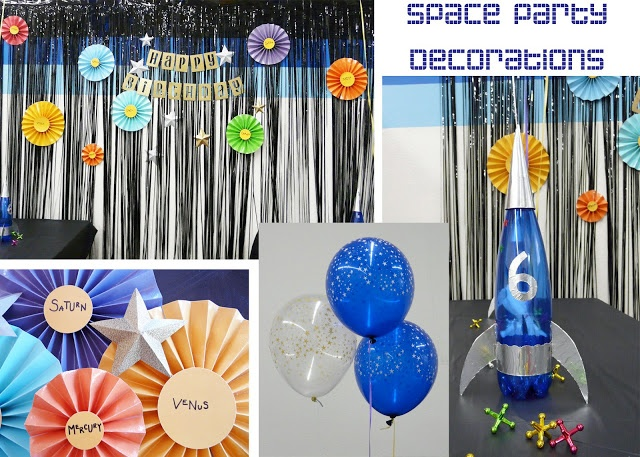 Decoraciones para una fiesta espacial.