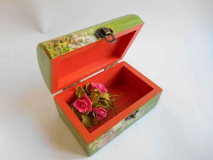 Small wooden jewelry box Green box Handpainted gift box Keepsake storage Rustic decor Bike ornament Vanity decor Miniature Floral art by MilaPollyart on Etsy