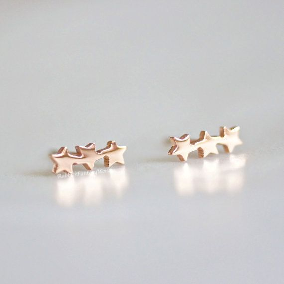 Stars stud earrings  rose gold stainless by RabbitsFantasyWorld