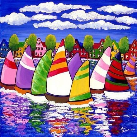 Colorful Whimsical Sailboats Houses Folk Art by reniebritenbucher, $38.00