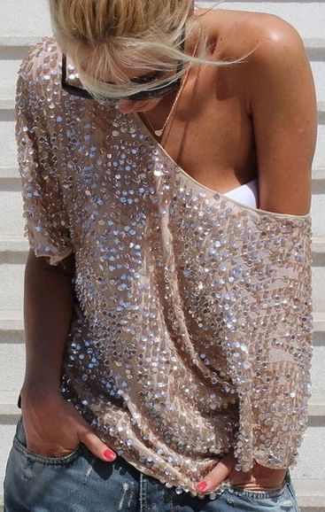 Off the Shoulder Sequin Top ♥