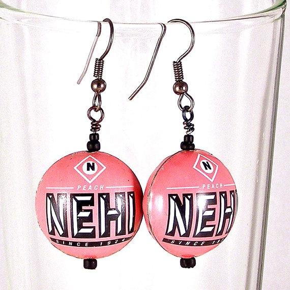 Peach Nehi Bottlecap Earrings by XOHandworks $22
