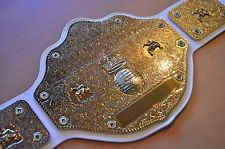 WWE WCW World Heavyweight Championship Belt on White Leather with Blue Back
