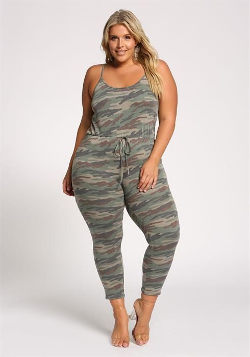 9fdfe1a09589 Plus Size Camo Drawstring French Terry Jumpsuit