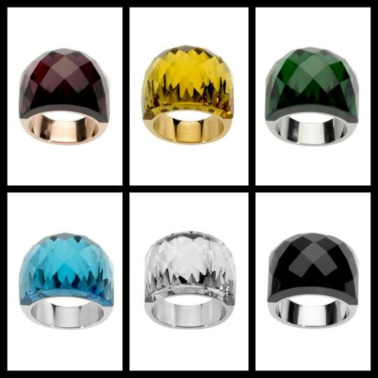 Crystalised rings in purple, yellow, green, blue, hematite and black. Www.facebook.com/envywithkristina