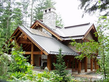 Outdoor living space, roof with skylightRavens Wood Whistler BC - traditional - exterior - other metro - Nigel Walker and Associates Inc