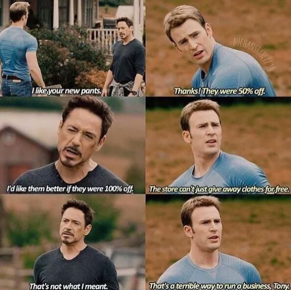 That's a terrible way to run a business, Tony. Ahahahahha yes i love this so much. Iron Man flirting with Captain America.