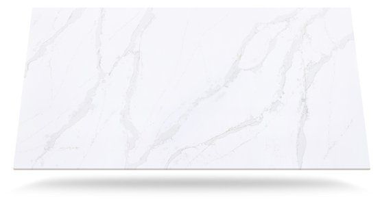 Calacatta Gold Quartz countertop for kitchen. Very durable, stain proof, scratch proof. Can withstand heavy weight, banging of pots and pans and even knife cuts in the counter. Perfect for a family who's spends a lot of time in kitchen