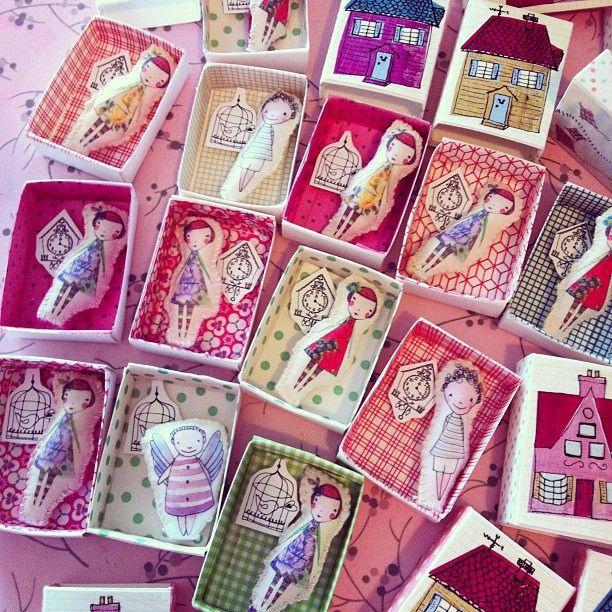 Little dolls in little boxes by paula mills illustration, via Flickr