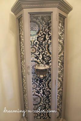 dreamingincolor: Curio Cabinet using fabric