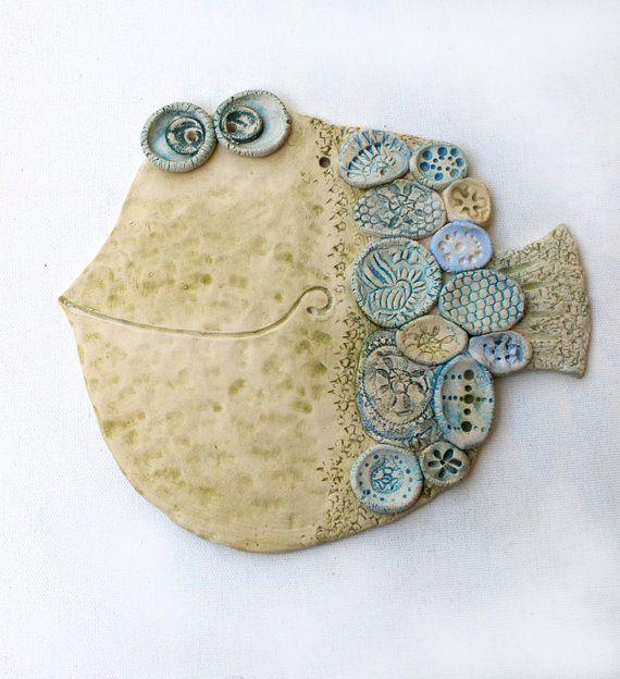 Handmade Ceramic Wall Decor  The Fish 2 by dushka on Etsy