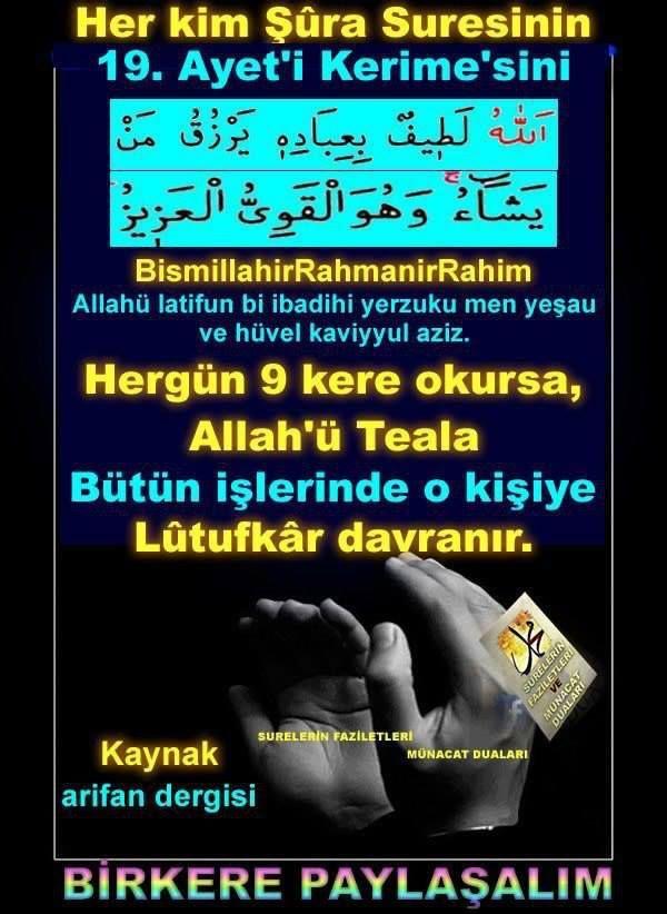 Butun islerinde Allah on kisiye lutufkar davranir..