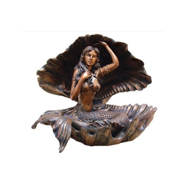 6 Inch Bronze Atargatis Mermaid Sitting in A Shell Figurine ($53) ❤ liked on Polyvore featuring home, home decor, bronze mermaid statue, bronze statuary, mermaid statue, mermaid figurine and sea home decor