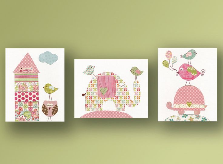 Birds house turtle owl elephant nursery pink baby by GalerieAnais