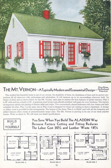 Aladdin House plans.  Simple, and to the point. #midcenturymodern #homeplans