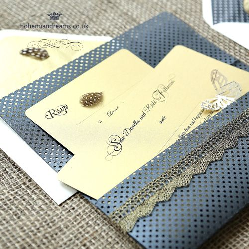 Bohemian infusion wedding invitation.... an unique wallet invitation. The wallet card is delicately punched with 1000's of tiny holes and comes in pearly midnight grey and pearly light grey. The lace has a luxurious metallic finish and comes in light and dark gold + light and dark silver. Price starts from £4.99