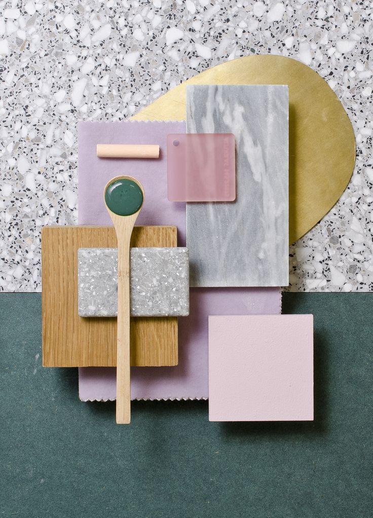 Weekly material mood 〰 Forest Green, soft pruple and brass #brass #terrazzo #darkgreen #oak #velvet #purple #acrylic #pink #greymarble #pastels #grey #colour #design #material #mood #moodboard #studiodavidthulstrup