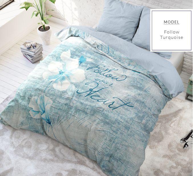 Bavlnené posteľné návliečky s nápisom Follow your heart