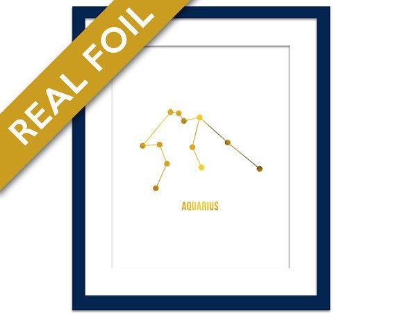 Aquarius Art Print - Gold Foil Print - Astrology Poster - Zodiac Stars Constellation - Gold Aquarius Poster - Horoscope Birthday Present