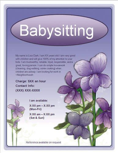 Free Babysitting Flyers, templates, ideas and samples. Sample text and design. Download and customize our templates or make your own.