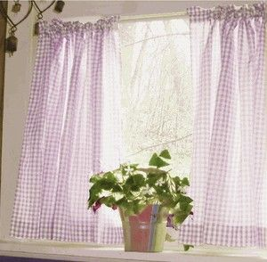 light purple and white cafe curtains gingham check - Purple Cafe Ideas