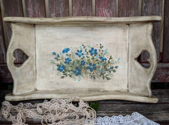 Rustic Decorative Tray Hand Painted In Antiqued Cream White With Blue Wild Flowers Wooden Serving Tray With He With Images Tray Decor Decorative Tray Wooden Serving Trays