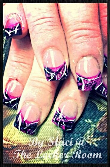 Pink camo french tips