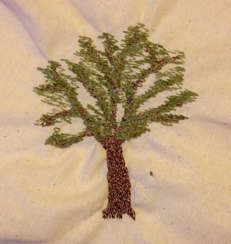 Free motion machine embroidery tree - it turned out a bit puckered but the general effect is good