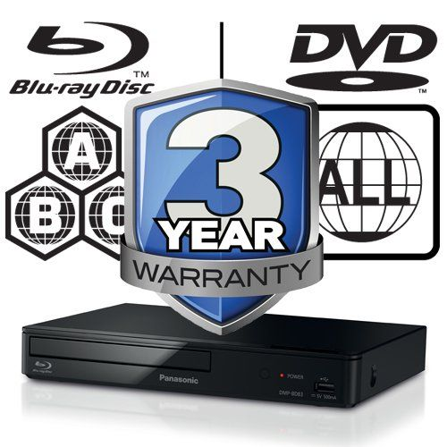 Panasonic DMP-BD84EB Smart ICOS Multi Region All Zone Code Free Blu-ray Player. Blu-ray regions A, B and C, DVD regions 1 - 8. YouTube, Netflix etc. HDMI output. HDD Playback. Matt Black Finish
