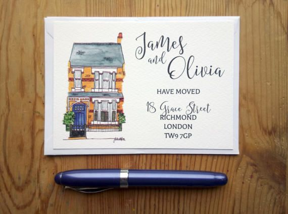 Personalised house portrait on new address cards. Check out this item in my Etsy shop https://www.etsy.com/uk/listing/253597210/moving-announcements-cards-with-house