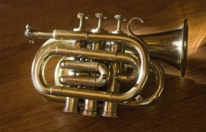 What if you play the trumpet, you're about to go on vacation or a hike or something & feel that you might come across a pickup improv jazz show ?  Well thank God you brought your pocket trumpet!    A pocket trumpet is tuned the same as a regular trumpet (b-flat), but is folded up into a smaller package.  Believe it or not, but if you stretch out the tubes of a pocket trumpet and the tubes of a regular trumpet they would extend to approximately the same length.