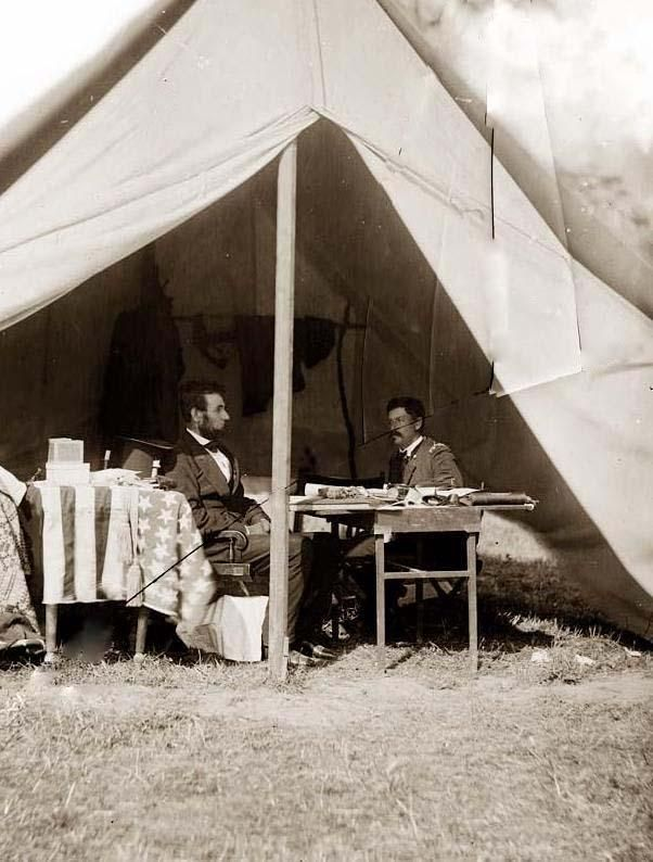Antietam, Maryland; President Lincoln and General George B. McClellan in the general's tent