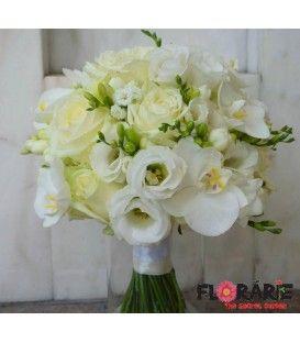 Buchet de cununie cu trandafiri, lisianthus si orhidee phalaenopsis
