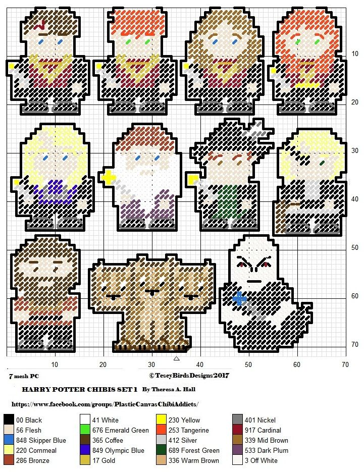 Harry Potter  CHIBIS SET  OUTLINED FOR PLASTIC CANVAS CREATIONS