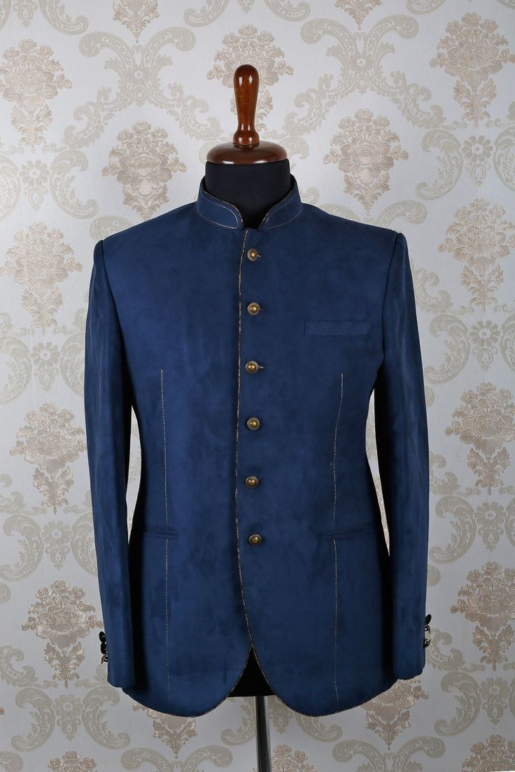 #Blue suede slim fit #grand #suit with mandarin collar & full sleeves -ST388