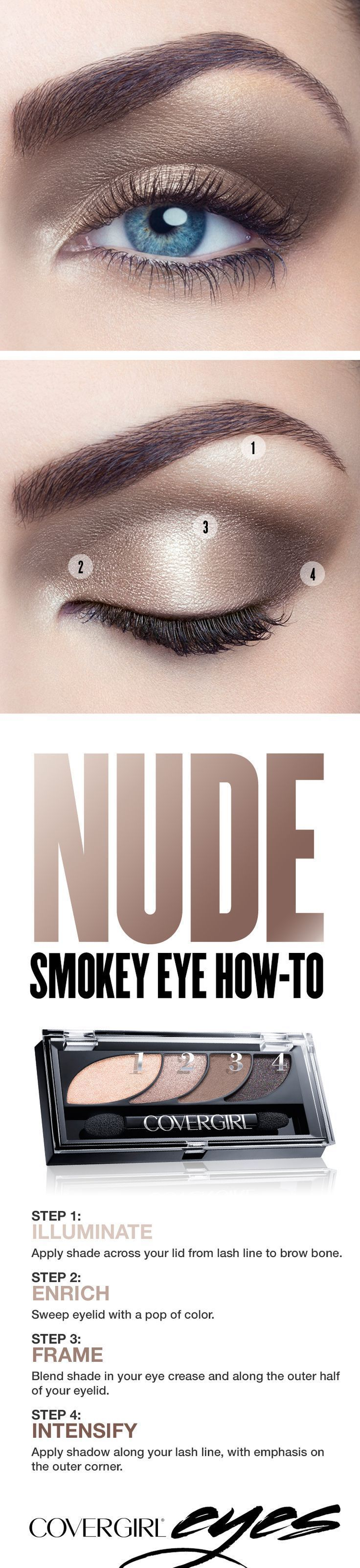 Try our simple step-by-step tutorial this holiday season for a natural nude smokey eye using COVERGIRL Eyeshadow Quads in Notice Me Nudes. The light, neutral tones in this palette make blue eyes pop! Perfect for Christmas or New Year's Eve parties - pair with a glam red lip to complete the look. http://makeuplearning.com/an-impressive-gold-smoky-eye-makeup-tutorial-step-by-step-gold-smoky-eye