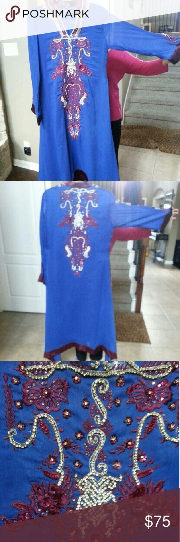 Salwar Kurta anarkali pakistani indian dress suit Chiffon heavy work. Size 40 Dresses