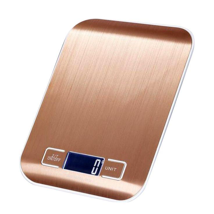 10Kg x 1g Balanza de Cocina de Acero Inoxidable Super Delgado de Oro LCD Digital Dieta de la Cocina escala electrónica 10 kg Peso Herramienta equilibrio