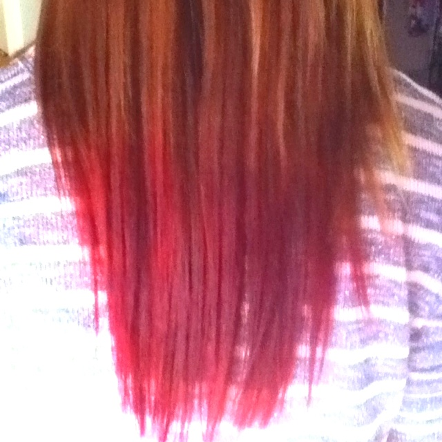 Red DIY tips, with Kool-Aid. I'm going to dye my hair like this either tonight or sometime this week.