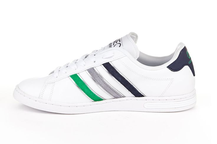 adidas Derby Trainer White/Navy/Green  Upper: coated leather/other materials, lining and sock: textile, outer sole: other materials.