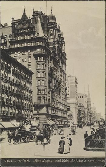 An American Gilded Age view of: pedestrians and horse-drawn carriages, located on Fifth Avenue, in front of the Waldorf-Astoria Hotel, c.1905. ~ {cwl} ~ (Image: MCNY)