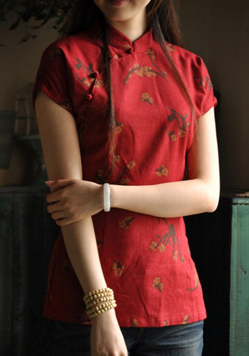 Summer Retro Red  cotton & Flax Cheongsam /Chinese Dress/ Size S to  XXL on Etsy, $50.28 CAD