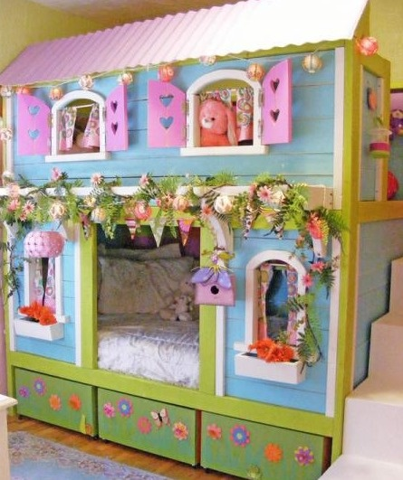 Sweet pea garden bunk bed / playhouse with cute pergola and roof - fabulous little girls / kids bedroom furniture tutorial by Ana White