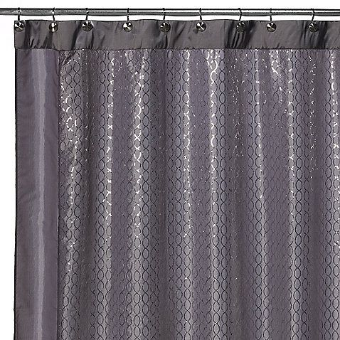 The Infinity Fabric Shower Curtain Features A Metallic Grey Background  Adorned With Small Silver Sequins, Creating A Serene Design ...